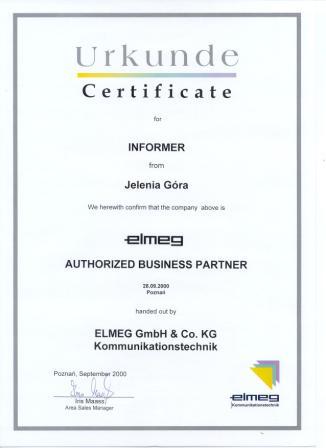 Certyfikat Authorized Business Partner ELMEG Informer 2000